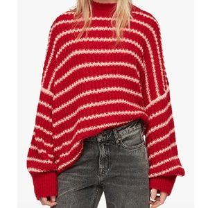 AllSaints Renne Red White Stripe Sweater L NWT